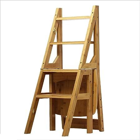 CAIJUN Taburete De Escalera Bambú Plegable Multifuncional Carbonización Deformable Antideslizante, 4 Escalera De Mano, 3 Colores Doble Uso (Color : Color Madera, Tamaño : 36.5x37.5x90cm): Amazon.es: Hogar