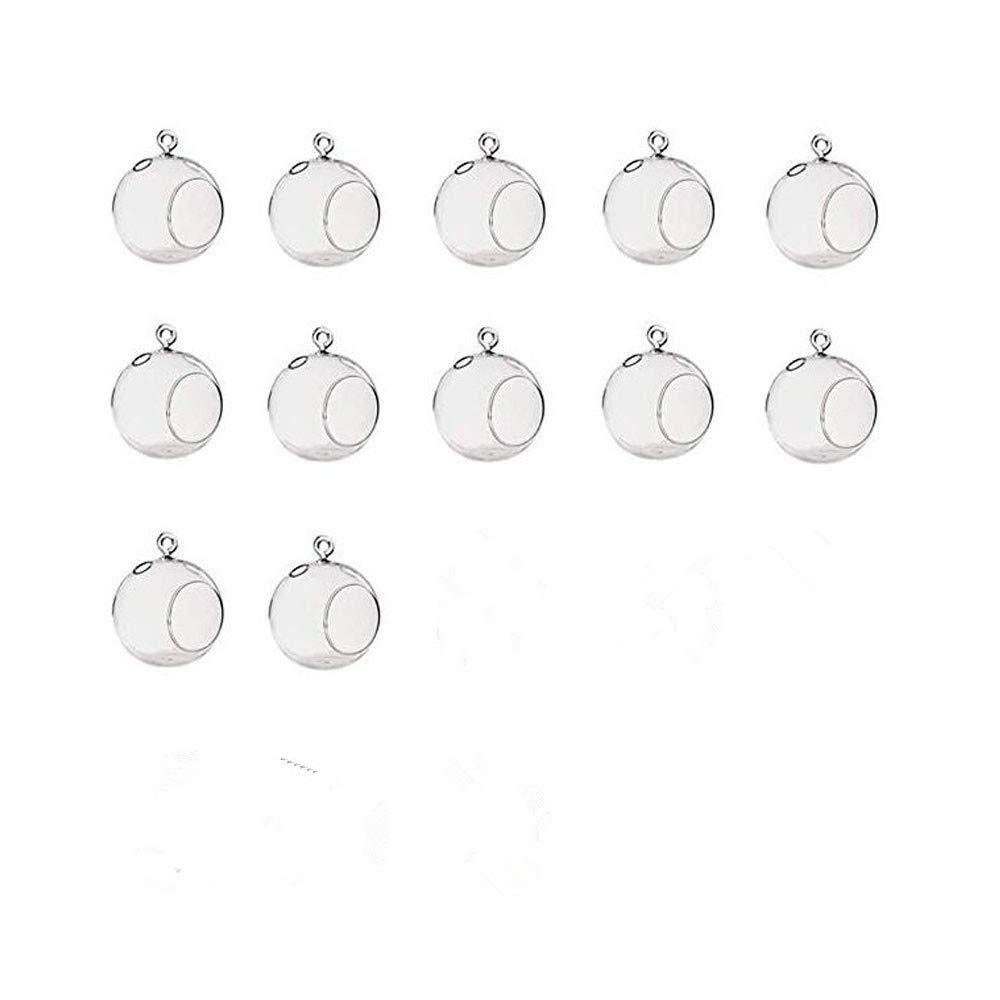 LANLONG 80MM Hanging Tealight Holder Glass Globes Terrarium Wedding Candle Holder Candlestick (18 Pcs/Set) (12pcs)