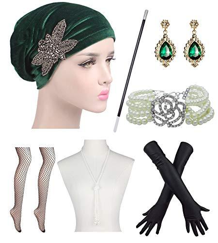 1920S Ruffle Turban Hat Glitter Stretch Chemo Cap 20s Flapper Accessories Set (one Size, ()
