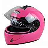 ILM 8 Colors Full Face Dual Visor Motorcycle Helmet DOT with Removable Winter Neck Scarf (XL, PINK)