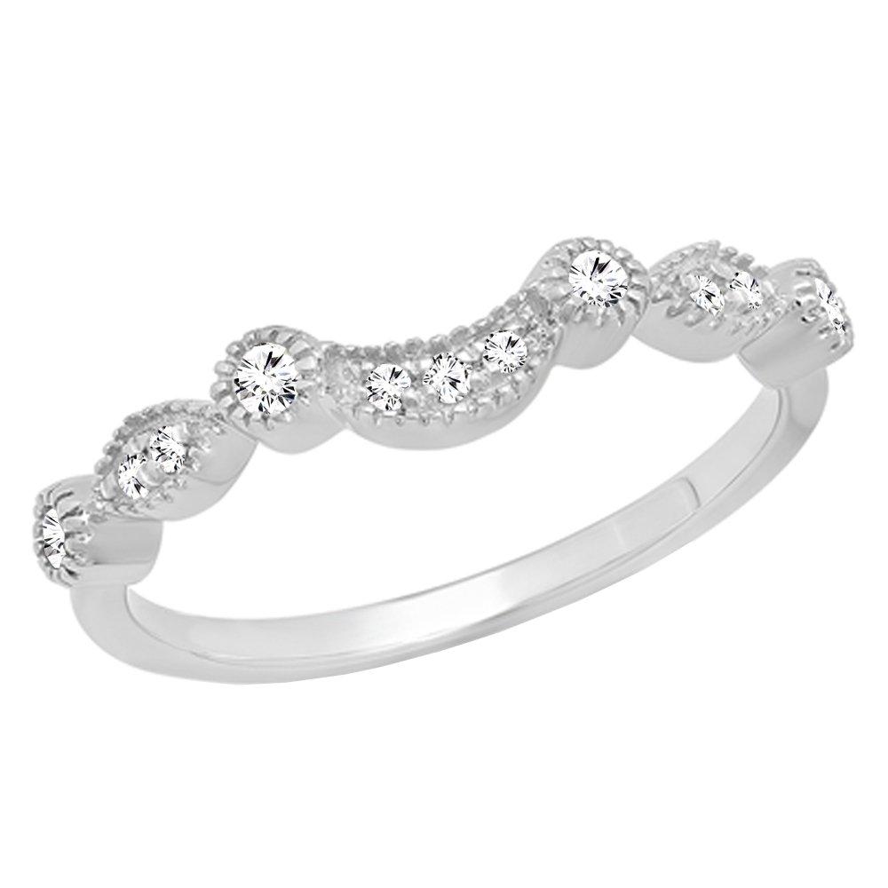 Dazzlingrock Collection 0.15 Carat (ctw) 14K Round Cut Diamond Wedding Stackable Contour Guard Band, White Gold, Size 7