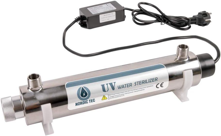 Filtro esterilizador UV de acero inoxidable, Sistema de tratamiento de agua, desinfección UV para el agua NORDIC TEC & PHILIPS - 12GPM - 55W - 3/4