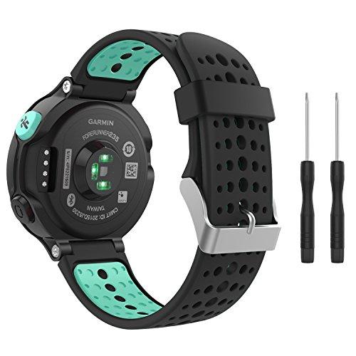 MoKo Garmin Forerunner 235 Watch Band, Soft Silicone Replacement Watch Band for Garmin Forerunner 235/235 Lite / 220/230 / 620/630 / 735XT - Black & Mint Green