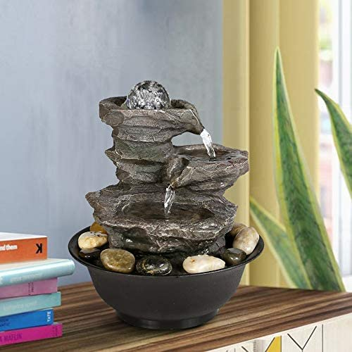 BBabe 3 Tier Rock Fall Tabletop Zen Fountain 11 2 5 , Feng Shui Meditation Waterfall Fountain with Crystal Ball Accent and LED Light for Indoor Home Office Decoration