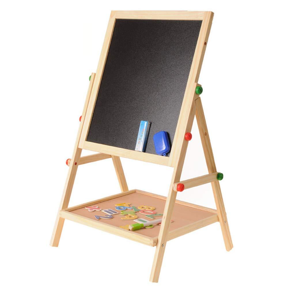 Cavalletto d'arte verdeicale di lusso Tavolo da disegno in legno Cavalletto bilaterale regolabile Lavagna di gesso e superficie di cancellazione a secco bianca, spugna magnetica, pennarelli, gessetti