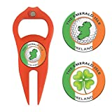 Hat Trick Openers 6-in-1 Golf Divot Tool & Poker Chip Marker Set with Ireland Logo, Orange