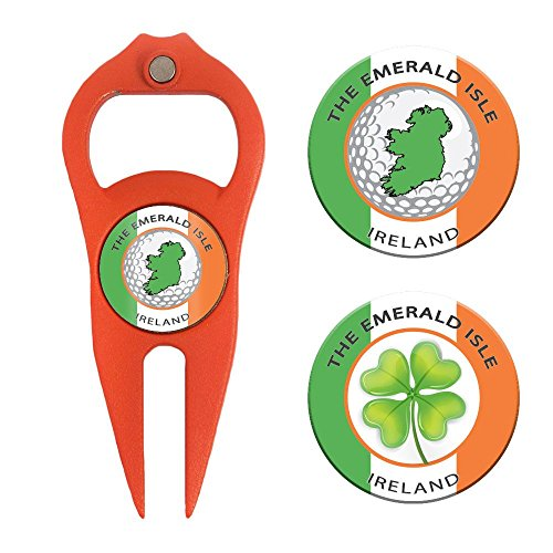 Hat Trick Openers 6-in-1 Golf Divot Tool & Poker Chip Marker Set with Ireland Logo, Orange by Hat Trick Openers