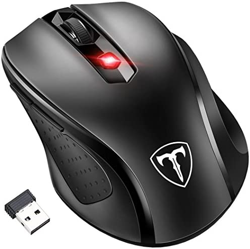 [Updated Version] Wireless Mouse, Patuoxun 2.4G USB Wireless Mice Optical PC Laptop Computer Cordless Mouse with Nano Receiver, 6 Buttons, 2400 DPI 5 Adjustment Levels for Windows Mac Macbook Linux – Super Energy Saving, Black