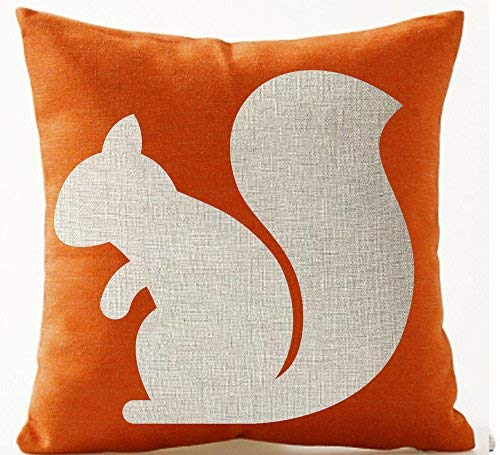 (FDROL Orange Background Squirrel Silhouette Happy Autumn Cotton Linen Pillowcase Cushion Cover Case For Sofa Living Room Office Decorative Throw Pillow Case Cover Square(A, 18x18inches))