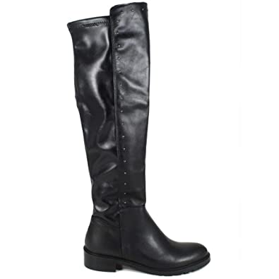 In Time Stivali Biker Boots Alti Donna 0290 Marrone Arricciati in Vera Pelle Nabuk Made in Italy