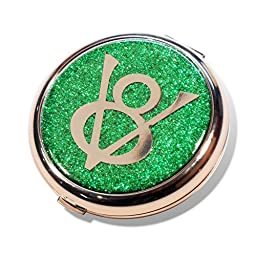 Ford V8 Emerald Green Glitter Compact Mirror Travel Make Up Accessory