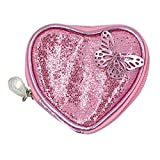 Mily Girl Kids Pink Heart Shape Money Bag Lovely Coin Change Purse Glitter Jewellery Pouch (violet)