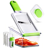 5-in-1 Handheld Mandoline Slicer - Cheese Grater - Vegetable, Fruits, Food & Potato Slicer - Mandolin Julienne - Veggie Spiralizer