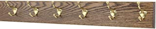 """product image for Oak Wall Mounted Coat Rack with Solid Brass Hooks 4.5"""" Ultra Wide (Walnut, 36"""" x 4.5"""" with 7 Hooks)"""