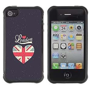 WAWU Funda Carcasa Bumper con Absorci??e Impactos y Anti-Ara??s Espalda Slim Rugged Armor -- I love London heart grey flag union uk -- Apple Iphone 4 / 4S
