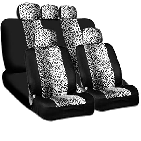 New and Unique YupbizAuto Brand Safari Snow Leopard Print Universal Size Car Truck SUV Seat Covers Set High Quality Velour and Mesh Material Gift Set Smart Pocket (Safari Print Seat Covers)
