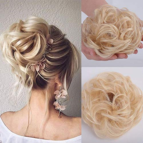 Stamped Glorious 2 PCS Real Human Bun Extensions Hair Pieces for Women Wedding Messy Hair Scrunchies Chignon Hairpiece Natural Hair for Women Kids Donut Updo Ponytail Hair Chignons (613#)