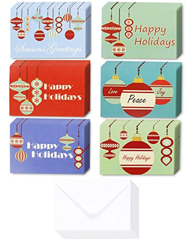 Ornament Collection Set (36-Pack Merry Christmas Greeting Cards Bulk Box Set - Retro Inspired Winter Holiday Xmas Greeting Cards with Festive Christmas Ornament Designs, Envelopes Included, 4 x 6 Inches)