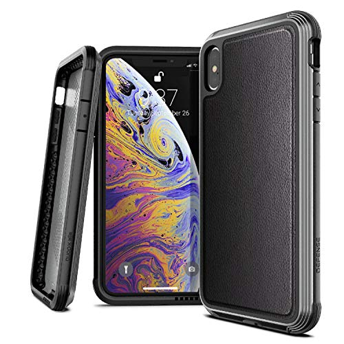 X-Doria Defense Lux, iPhone Xs Max Case - Military Grade Drop Tested, Anodized Aluminum, TPU, and Polycarbonate Protective Case for Apple iPhone Xs Max, 6.5 Inch Screen, (Black Leather)