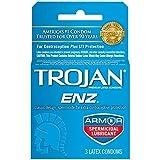 Trojan-ENZ Premium Latex Condoms Spermicidal 3 ct Pack of 12