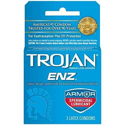 Trojan-ENZ Premium Latex Condoms Spermicidal 3 ct Pack of 12 by Trojan