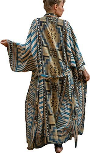 RanRui Womens Geometry Print Long Sleeve Bathing Suit Cover up Open Front Beach Blouse