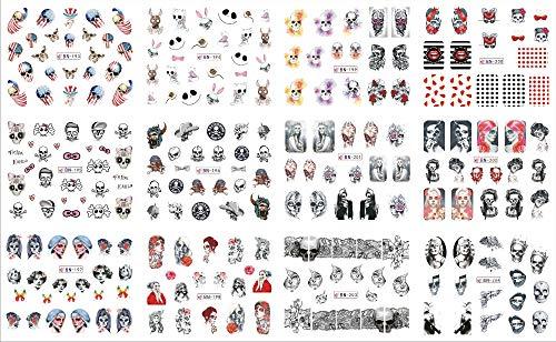 Halloween Skulls Styles Large Nail Art Water Transfer Nail Stickers Decal Demon Alluring 12Pcs