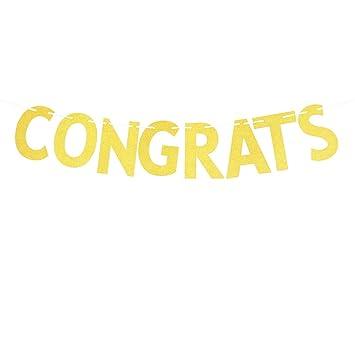 amazon com glitter gold congrats banner congratulations sign