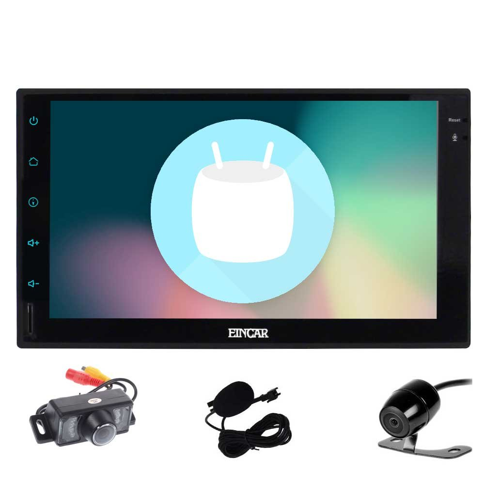 Double Din EinCar Android 6.0 Car Stereo with 7'' Full touch screen In Dash Navigation Headunit GPS Vehicle Radio Receiver Support 1080P/Bluetooth/Mirrorlink/External Mic/WiFi with Front & Rear Camera