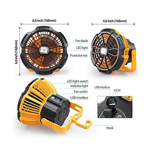 51ABt7nm97S Karvipark Camping Ventilator, USB Wiederaufladbar Tisch/Wand Leise Ventilator mit 3 Geschwindigkeitsstufen und…