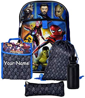 Personalized Avengers Superhero Characters Backpack Book Bag Accessories and Lunch Bag with Water Bottle for Back to School - 5 Piece Set