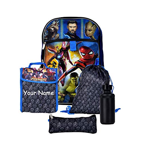 Personalized Avengers Superhero Characters Backpack Book Bag Accessories and Lunch Bag with Water Bottle for Back to School - 5 Piece -