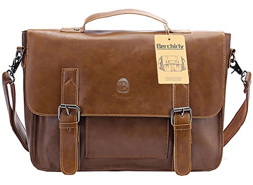 Berchirly Briefcase Messenger Laptop Bag PU Leather 14 inch Computer Shoulder Satchel