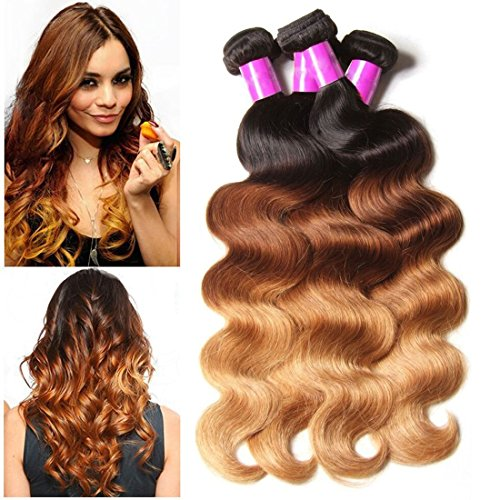 ALI JULIA Brazilian Ombre Body Wave Hair Weave 3 Bundles 10A 100% Human Hair Extensions 95-100g/pc(18 20 22 inch)
