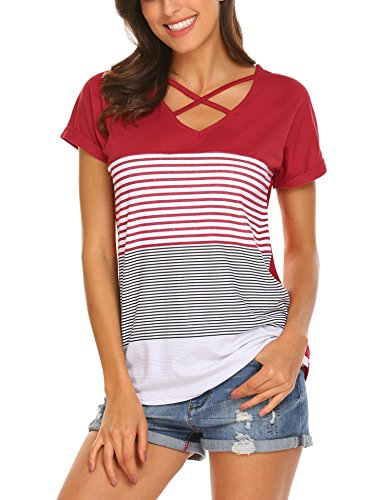 Venena Women's Short Sleeve Triple Color Block Stripe Criss Cross T Shirt Tunic Tops, Wine Red, - Cotton Cross