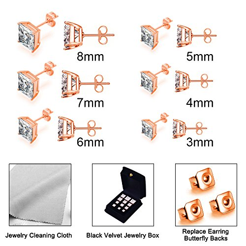 Anni Rose Plated Stainless Steel Princess Cut Stud Earrings 6 Pairs