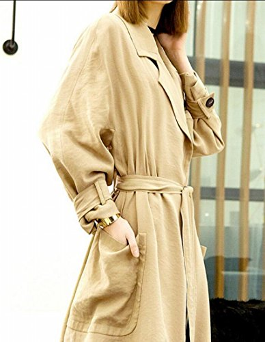 M&S&W Women's Long Trench Coat Casual Elegant Lapel Waterfall Outwear Cardigan Jacket With Belt 1 M by M&S&W (Image #1)