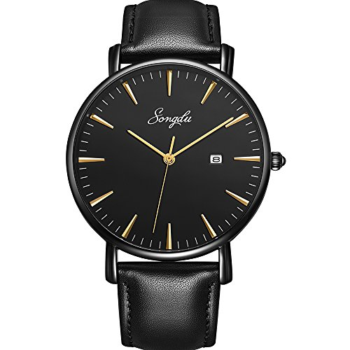 Songdu Mens Ultra Thin Quartz Analog Date Gold Hand Wrist Watch With Black Leather Strap