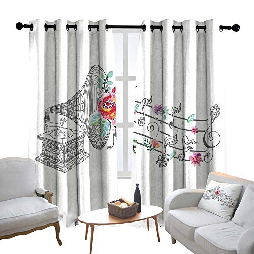Lewis Coleridge backout Curtains for Bedroom Music Decor,Vintage Gramophone Record Player with Floral Ornament Blossom Antique,Grey Pink,Pocket Thermal Insulated Tie Up Curtain 52