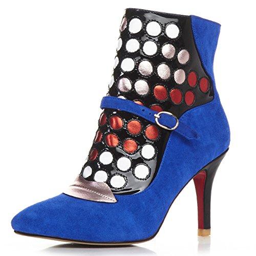 Minivog Dames Buckled Strap Stiletto Hoge Hak Lederen Enkellaarzen Met Rits Blauw