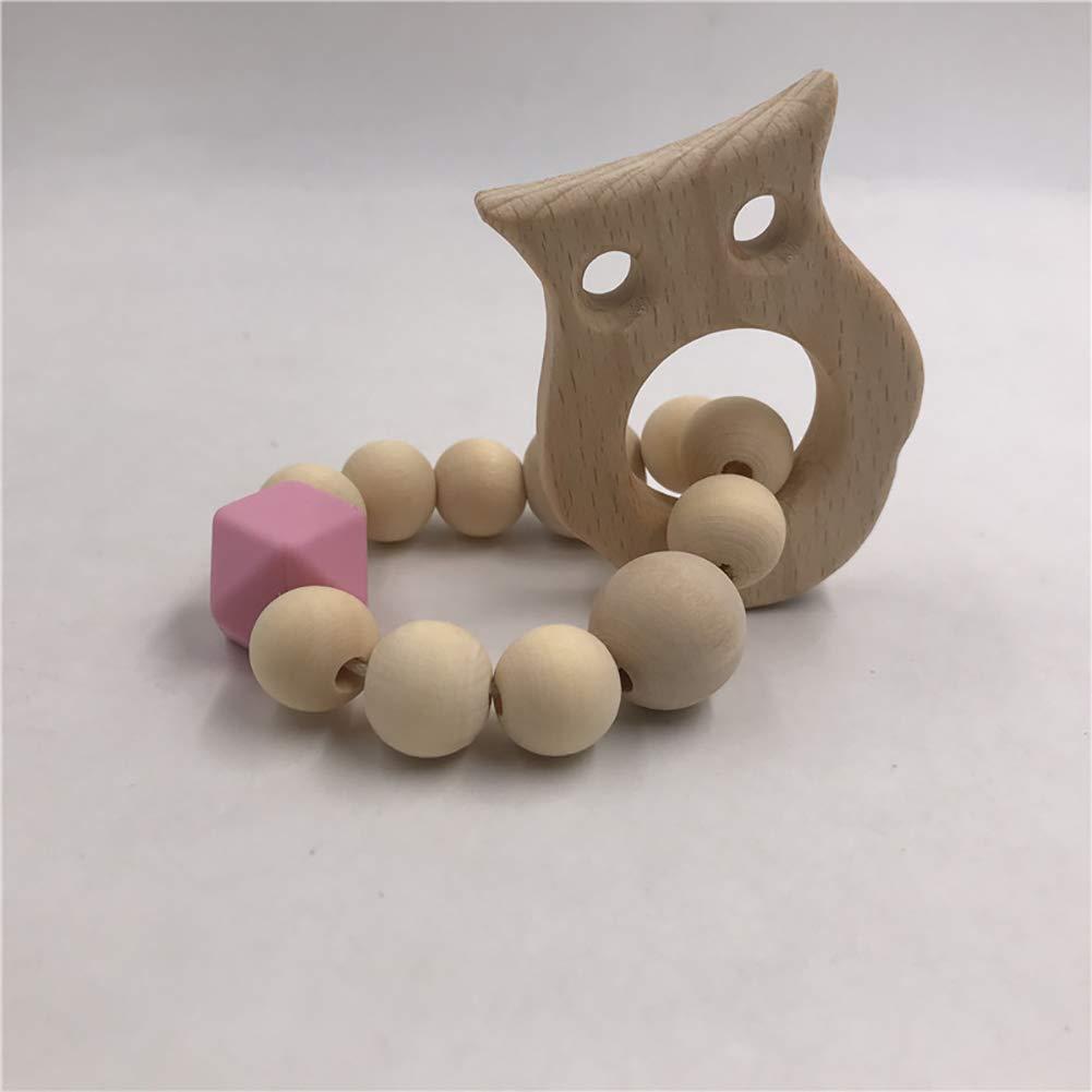 SELUXU Dientes de Silicona de Madera Pulsera de dentici/ón Seguro y Natural beb/é mordedura Juguetes sonajero beb/é