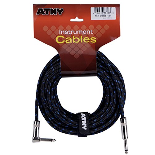 ATNY Braided Electric Guitar Cable – Professional Grade Musical Instrument Amplifier Cord with Nickel-Plated Straight to Right Plugs and Blue Tweed Jacket [50 Feet]