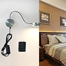 LED Wall Lamp WAYCOM 6W Gooseneck Reading Light - USB Night Lighting Lamp with Switch for Bedroom/Living Room - Yellow/White Color Adjustable (Silver)