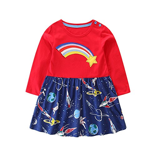 - Hongshilian Girls Cotton Casual Dresses Striped Longsleeve Cartoon Party Dress(Meteor,5-6Yrs)