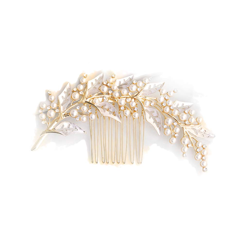 FIDDY898 Rhinestone Wedding Hair Combs Leaves Design Crystal Bridal Hair Clips Alloy Hair Accessories for Women Gold by FIDDY898