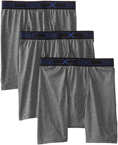 Hanes Men's 3-Pack Ultimate X-Temp Lightweight Performance Boxer Brief, Black/Grey, - Briefs Antimicrobial