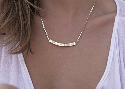 - Coordinate Necklace, Gold Bar Necklace, Bar Necklace Gold, Diamond Bar Necklace, Personalized nameplate