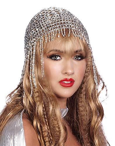 Beaded Fashion Hat - Arsimus Beaded Mesh Gypsy Flapper Cleopatra Boho Cap (Silver)