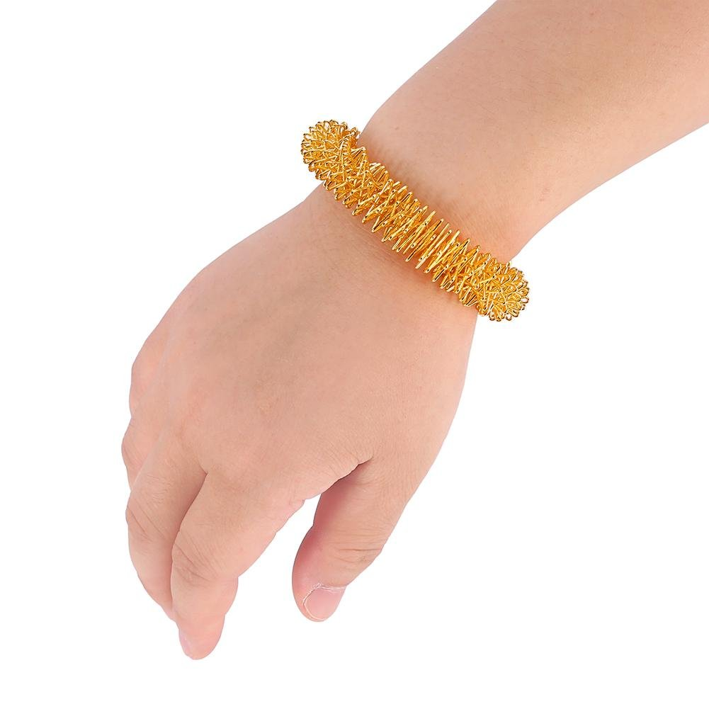 Acupuncture Massage Bracelet Wrist Relaxation Hand Ring Supplies Stainless Steel Gold