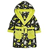 MiniKidz Infant Boys Novelty Dinosaur Print Dressing Gown - Hooded Fleece Night Robe 4-5